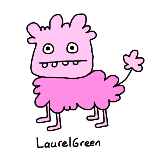 a drawing of a pink derp sheep