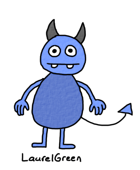 a drawing of a blue horned demon