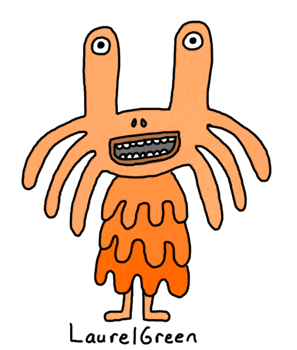 a drawing of a happy orange creature with whiskers