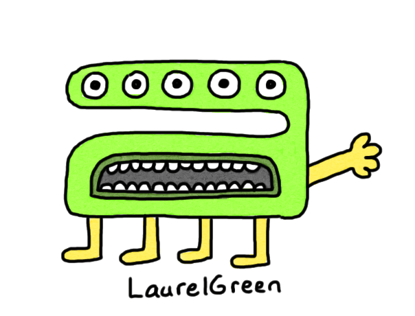 a drawing of an upset creature with five eyes and four legs