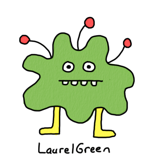 a drawing of a green lump with antennae coming out of it