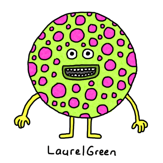 a drawing of a circular creature that is covered in spots