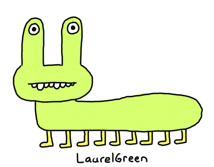 a drawing of a caterpillar with nine legs