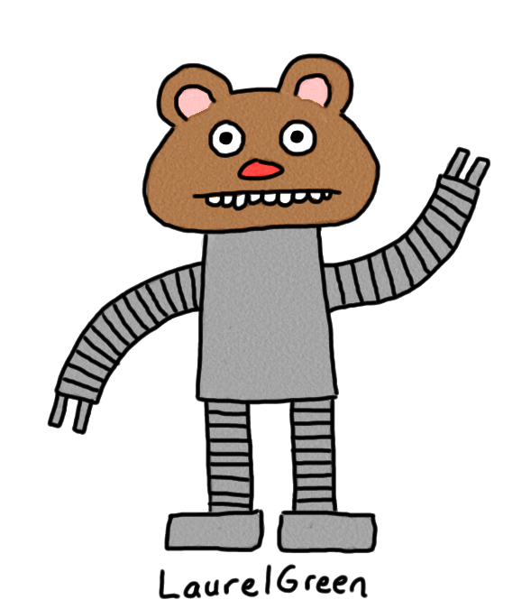 drawing of a robot with the head of a bear