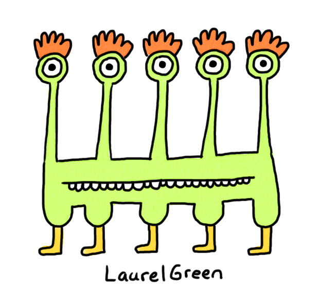 a drawing of a creature with five eyestalks and five legs