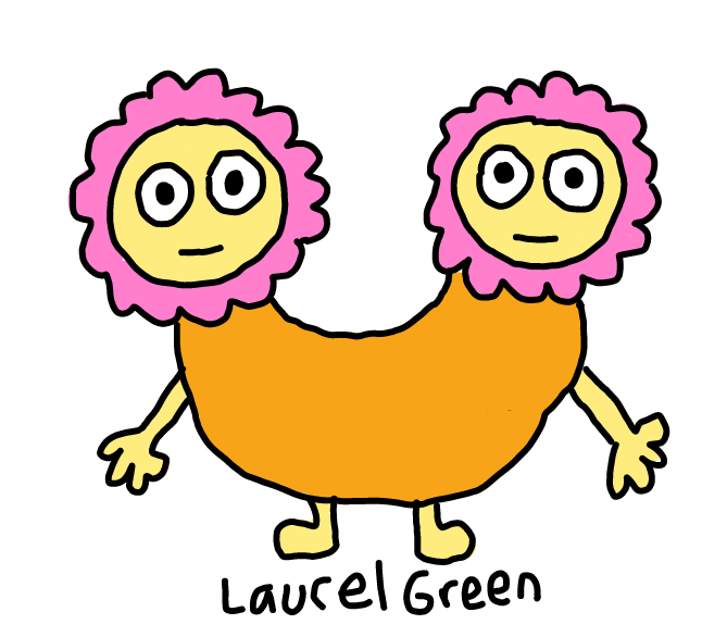 a drawing of a cute creature with two heads