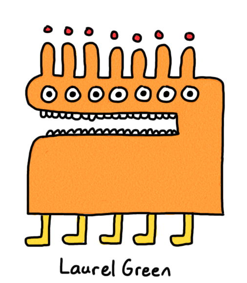 a drawing of an orange creature with seven eyes and five legs