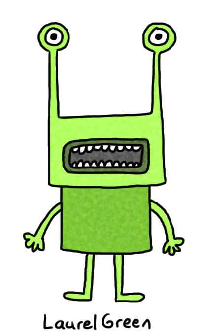 a drawing of an upset green creature