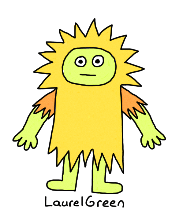 a drawing of a burly spiky person