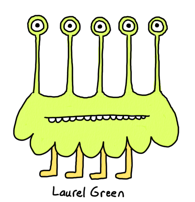 a drawing of a creature with five eyestalks and four legs