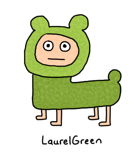 a drawing of a green bear person