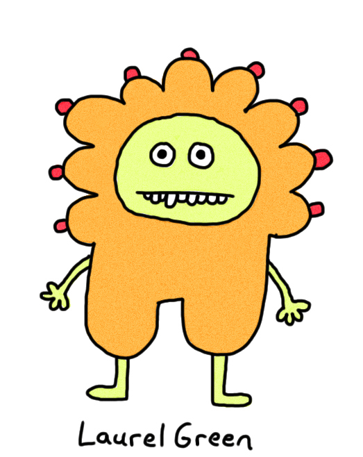 a drawing of an orange person