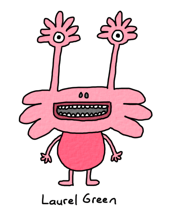 a drawing of a cute pink creature with eyestalks