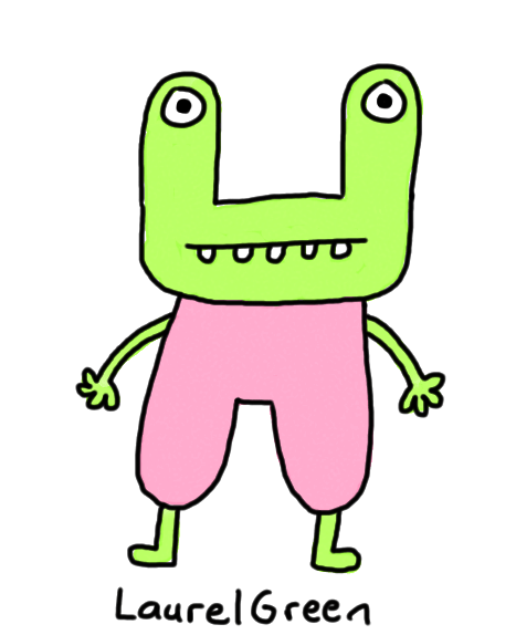 a drawing of a boring green person