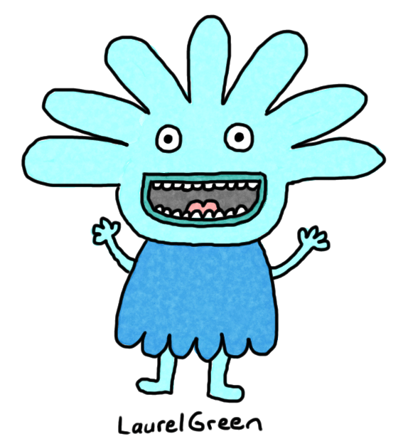 a drawing of a blue person who is very excited