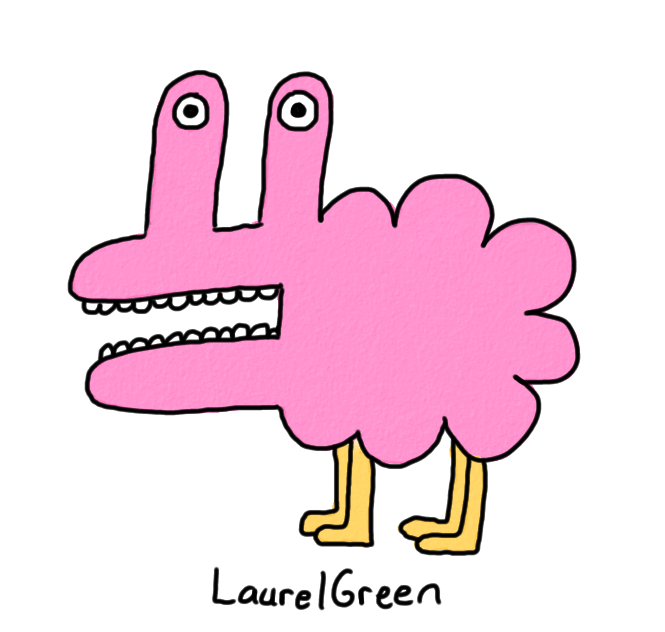 a drawing of a fuzzy pink creature
