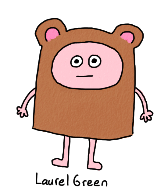 a drawing of a person wearing a bear suit