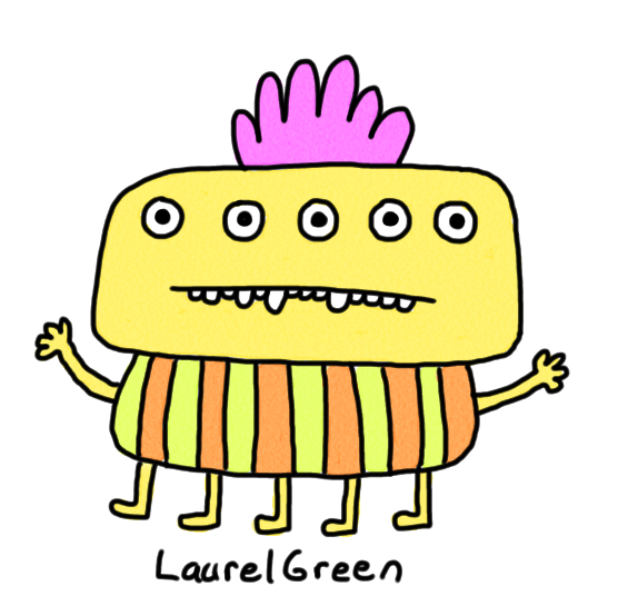 a drawing of a creature with five eyes wearing a striped shirt