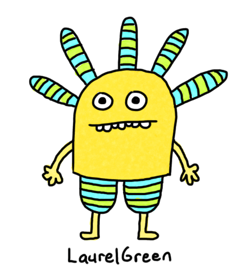 a drawing of a person with stripy pants and stripy spikes coming out of their head