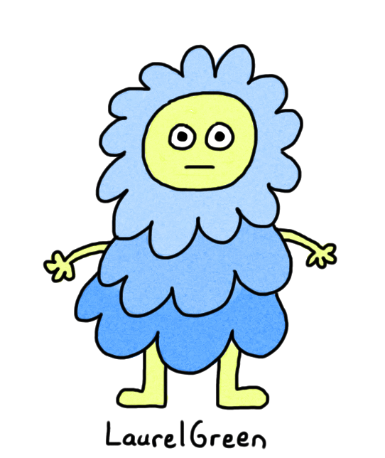 a drawing of a creature wearing a lumpy blue outfit