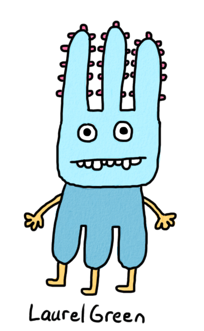 a drawing of a weird blue creature with three legs and three spiky things on its head