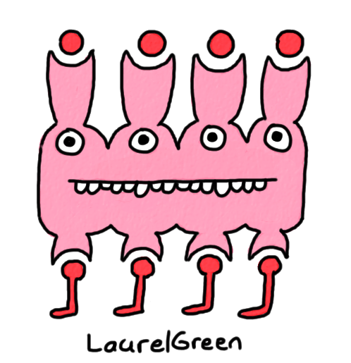 a drawing of a weird creature with four eyes, four legs and four weird floating spot things