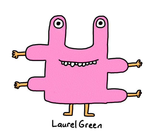 a drawing of a pink creature with four arms and wonky teeth