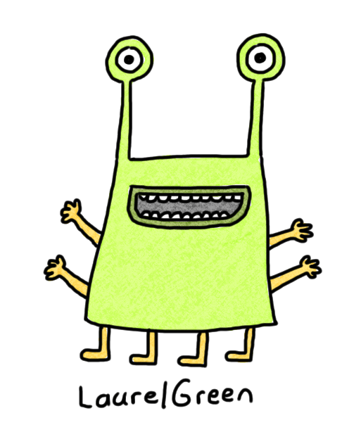 a drawing of a green creature with eyestalks, four arms and four legs