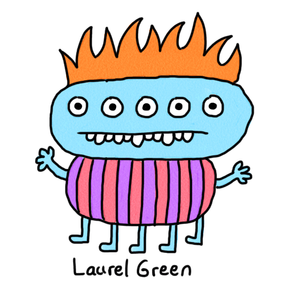 a drawing of a creature with a stripey body, five eyes, five legs and orange hair