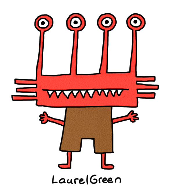 a drawing of a red monster with four eyestalks and fangs