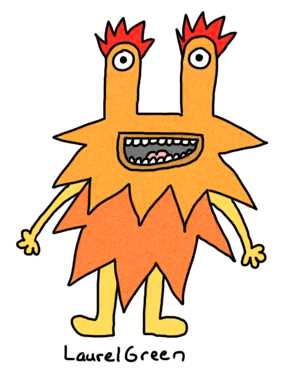 a drawing of a happy orange spiky creature with eyestalks