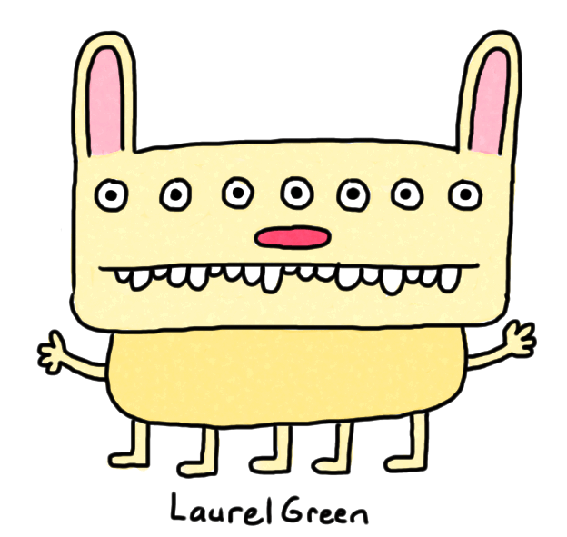 a drawing of a mutant rabbit with seven eyes and five legs