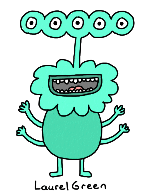 a drawing of a happy turquoise alien with four arms and five eyes