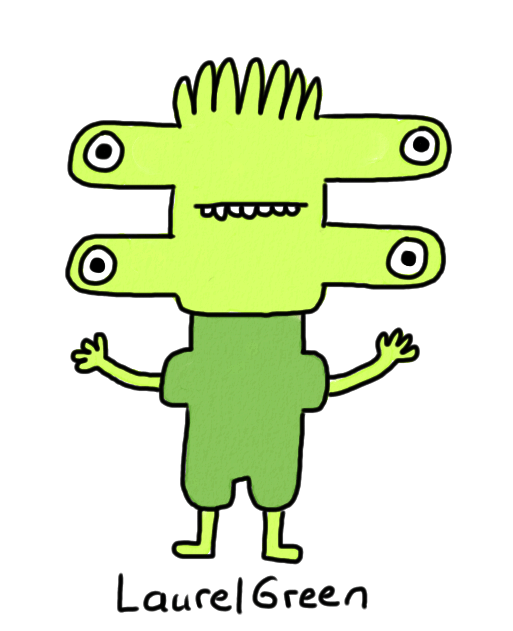 a drawing of a green person with four eyes and spiky hair