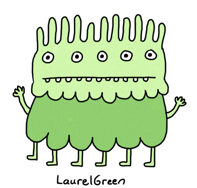 a drawing of a green creature with a spiky head, five eyes and six legs