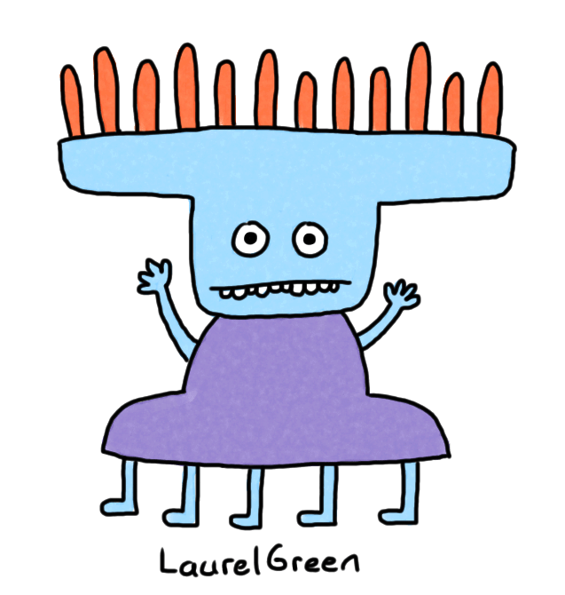 a drawing of a blue creature with five legs and orange spikes on its head