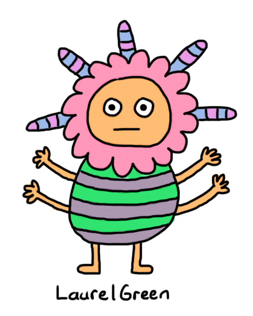 a drawing of a colourful creature with a stripey body, four arms and spikes coming out of its head