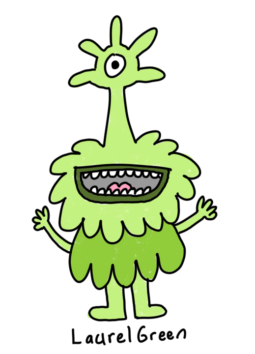 a drawing of a happy green cyclops