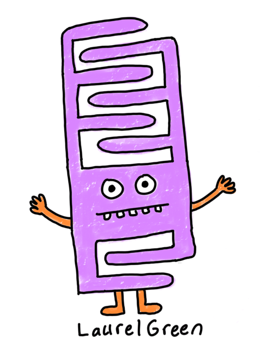 a drawing of a weird purple creature that sort of looks like a ladder