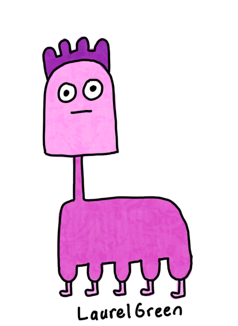 a drawing of a pink animal with a long neck and five legs