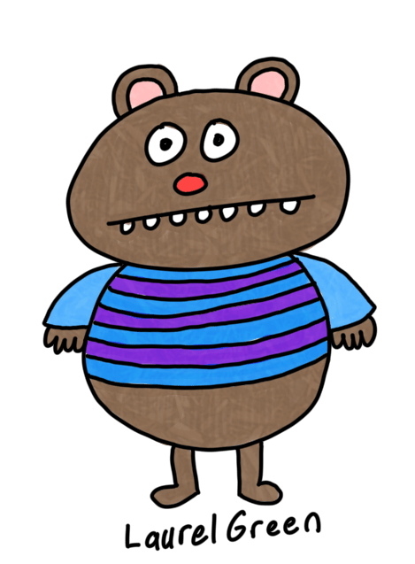 a drawing of a brown bear with a blue striped shirt