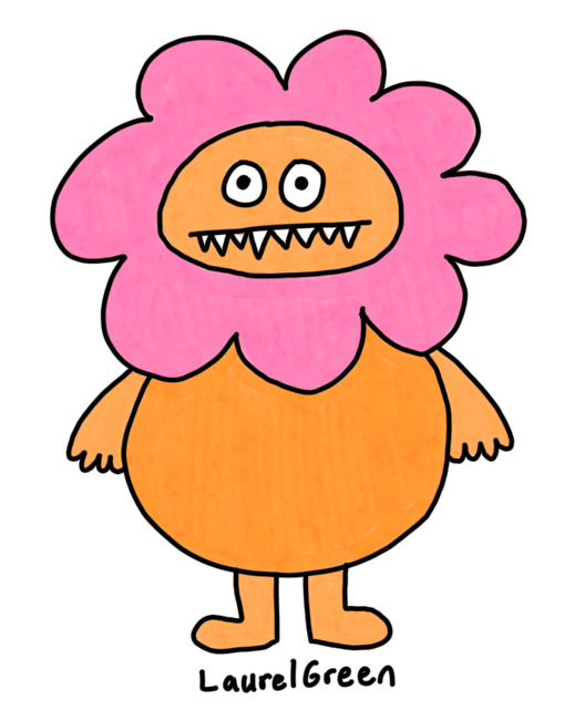 a drawing of a round orange thing with a flowery head and fangs