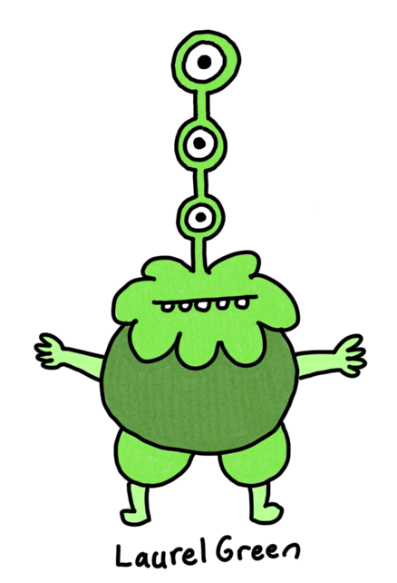 a drawing of a weird green creature with three vertical eyes