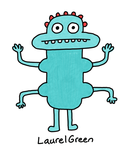 a drawing of an awkward turquoise creature with four arms and red bumps on its head