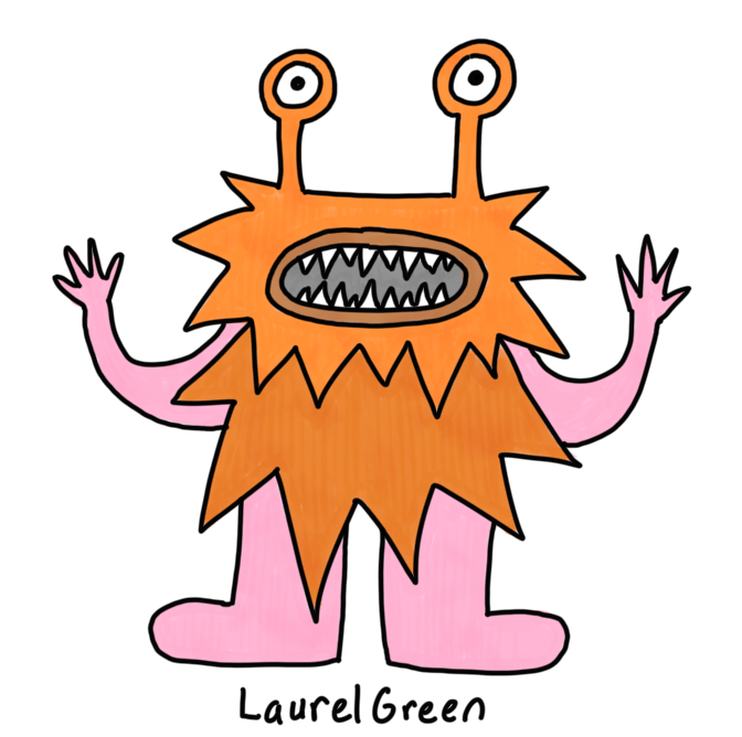 a drawing of a spike orange monster with fangs and eyestalks