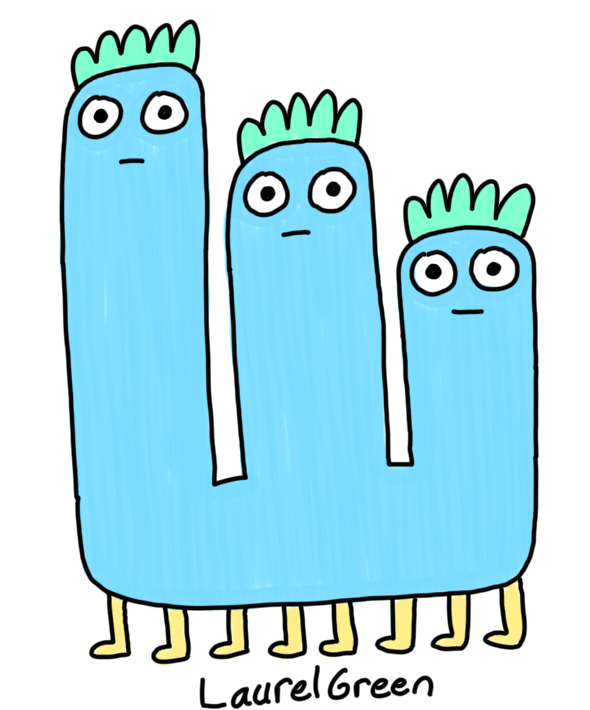 a drawing of a creature with three derpy heads and eight legs