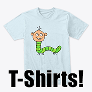a photo of a t-shirt with an image of a green caterpillar person on it