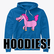 a photo of a hooded sweatshirt with an image of a derpy pony on it