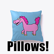 a photo of a blue pillow with an image of a derpy pink pony on it