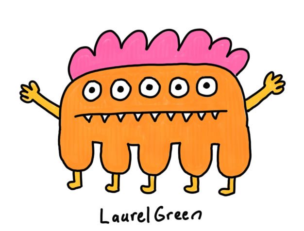 a drawing of a creature with five eyes, five legs and fangs